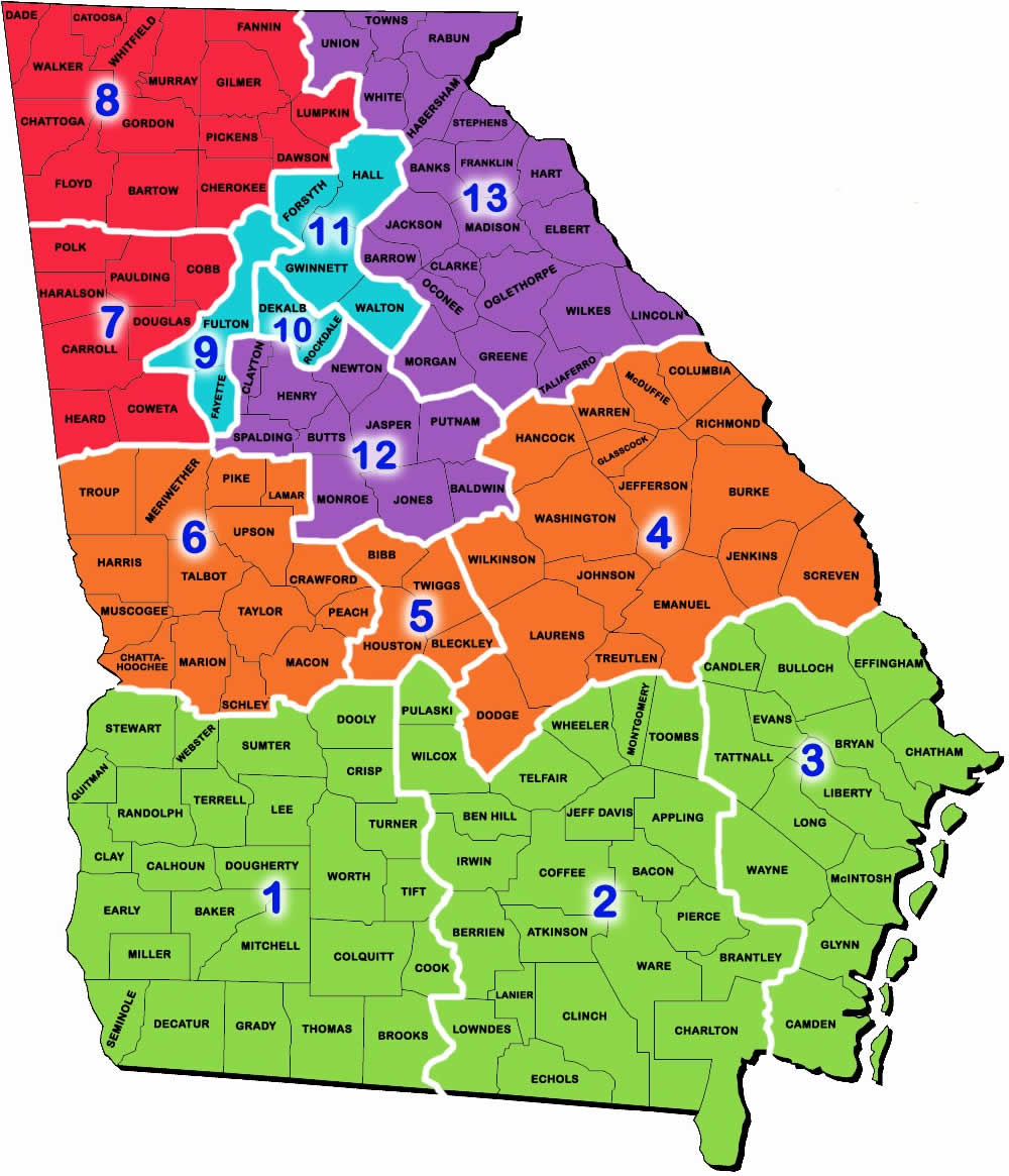Georgia Regions Map Regions   Georgia FBLA Georgia Regions Map